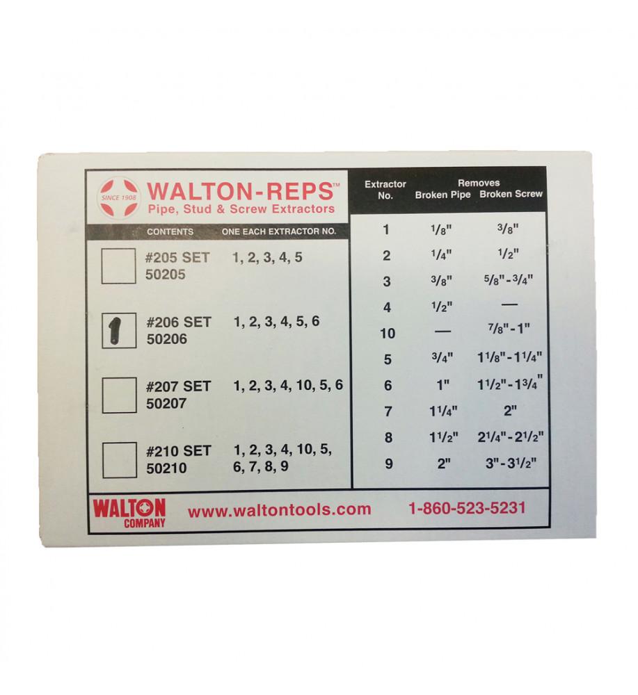 Stud And Screw Extractor Set Walton 50206 6 Piece Pipe NPT