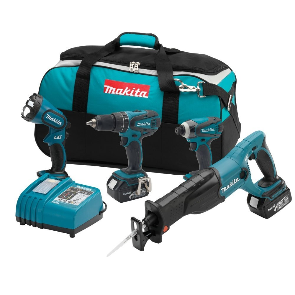 4 Piece 18V Lithium-Ion Combo Power Tool Kit MAKITA LXT407